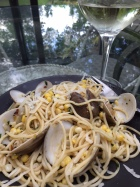 clam & corn spaghetti